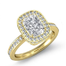 Circa Halo Pave Setting Cushion diamond engagement Ring in 14k Gold Yellow