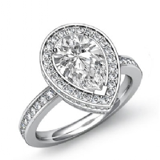 Circa Halo Pave Setting Pear diamond engagement valentine's deals in 14k Gold White