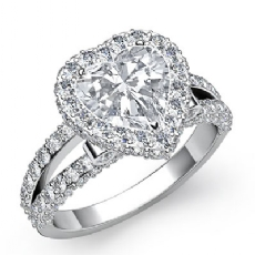 Split-Shank Pave Circa Halo Heart diamond engagement Ring in 14k Gold White