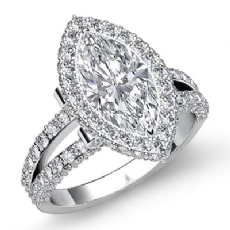 Split-Shank Pave Circa Halo Marquise diamond engagement Ring in 14k Gold White