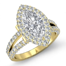 Split-Shank Pave Circa Halo Marquise diamond engagement Ring in 18k Gold Yellow