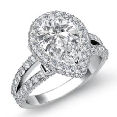 Split-Shank Pave Circa Halo Pear diamond engagement Ring in 14k Gold White