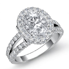 Split-Shank Pave Circa Halo Oval diamond engagement Ring in 14k Gold White