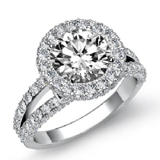 Split-Shank Pave Circa Halo Round diamond engagement Ring in 14k Gold White