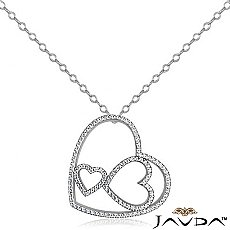 Round Diamond Heart Pendant 14K White Gold (1.04 ct tw)