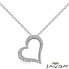 Round Diamond Hollow Heart Pendant 14K White Gold (1.08 ct tw)