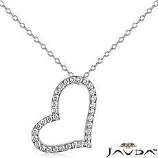 Round Diamond Hollow Heart Pendant 14K White Gold (0.99 ct tw)