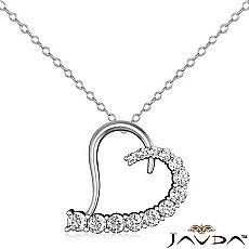 Round Diamond Heart Pendant 14K White Gold (2.02 ct tw)