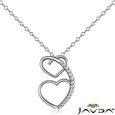 Round Diamond Heart Pendant 14K White Gold (0.21 ct tw)