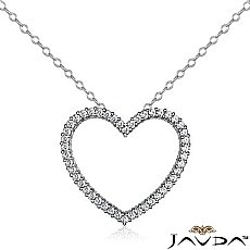 Round Diamond Hollow Heart Pendant 14K White Gold (0.59 ct tw)