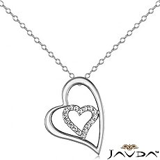 Round Diamond Heart Pendant 14K White Gold (0.25 ct tw)