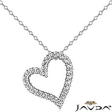 Round Diamond Heart Pendant 14K White Gold (1.89 ct tw)