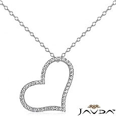 Round Diamond Hollow Heart Pendant 14K White Gold (0.69 ct tw)