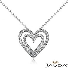 Round Diamond Heart Pendant 14K White Gold (1.36 ct tw)