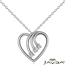 Round Diamond Heart Pendant 14K White Gold (0.30 ct tw)