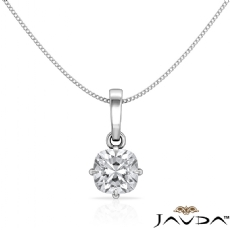 4 Prong Scroll Solitaire diamond Pendant 14k Gold White