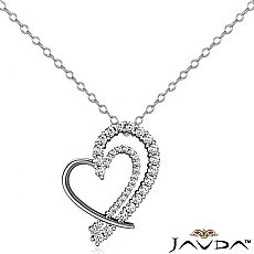 Round Diamond Fancy Heart Pendant 14K White Gold (0.68 ct tw)