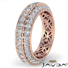Trio Pave Round Diamond Wedding Womens Eternity Band 14k Rose Gold Ring  (1.75Ct. tw.)