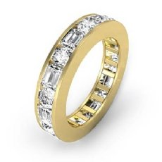 Round Emerald Channel Diamond Womens Eternity Wedding Band 18k Gold Yellow  (2.4Ct. tw.)