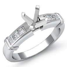 0.40Ct Diamond Engagement Womens Ring Princess Semi Mount Setting 14K White Gold