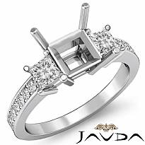 3 Stone Diamond Engagement Ring Princess Cut Semi Mount Setting 14k W Gold 0.8Ct