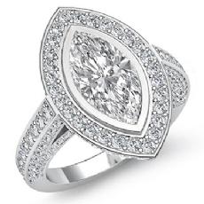 Halo Bezel Setting Sidestone Marquise diamond engagement Ring in 14k Gold White