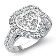 Halo Bezel Setting Sidestone Heart diamond engagement Ring in 14k Gold White