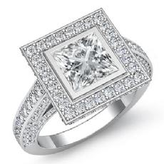 Halo Bezel Setting Sidestone Princess diamond engagement Ring in 14k Gold White