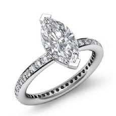 Eternity Classic Sidestone Marquise diamond engagement Ring in 14k Gold White