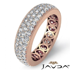 3 Row Pave Set Diamond Ring 14k Rose Gold Women's Wedding Eternity Band  (2.1Ct. tw.)