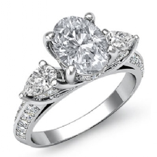 Three Stone Sidestone Oval diamond engagement Ring in 14k Gold White