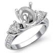 3 Stone Diamond Engagement Ring Pear Oval Setting 14k White Gold Semi Mount 1.21Ct - javda.com
