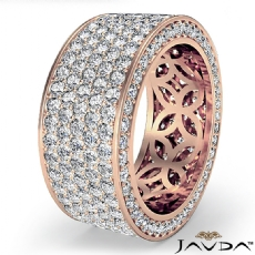 Women's Eternity 5 Row Band Pave Set Diamond Engagement Ring 14k Rose Gold  (4Ct. tw.)