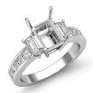 Emerald Diamond 3Stone Engagement Ring 14k White Gold Princess Channel Setting 0.8Ct - javda.com