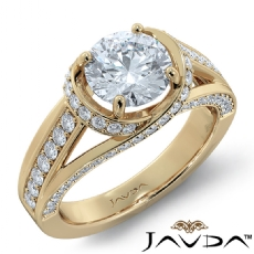 Micro Pave Bypass Designer Round diamond engagement Ring in 14k Gold Yellow