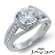 Curve Shank Sidestone Round diamond engagement Ring in 14k Gold White
