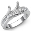 0.5Ct Princess Diamond Engagement Ring Channel Setting 14k White Gold Semi Mount - javda.com