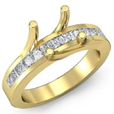 Princess Diamond Engagement Ring Channel Setting 18k Gold Yellow Semi Mount (0.5Ct. tw.)