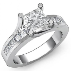 Classic Channel Prong Set Princess diamond engagement Ring in 14k Gold White