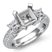 Three 3 Stone Round Diamond Engagement Ring 14k White Gold Princess Semi Mount 2.8Ct - javda.com