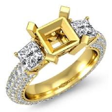 Three 3 Stone Round Diamond Engagement Ring 18k Gold Yellow Princess Semi Mount  (2.8Ct. tw.)