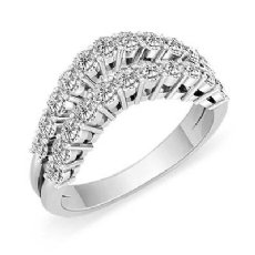 Women's Double Line Half Wedding Band 14k White Gold Round Diamond Ring 1.55Ct