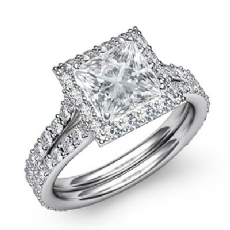 Pave Set Halo Split Shank Princess diamond engagement Ring in 14k Gold White