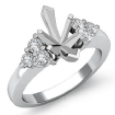 Round Diamond Three 3 Stone Marquise Semi Mount Engagement Ring 14k White Gold 0.3Ct - javda.com