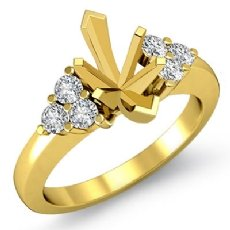 Round Diamond Three 3 Stone Marquise Semi Mount Engagement Ring 18k Gold Yellow  (0.3Ct. tw.)