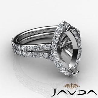 Halo Setting Diamond Engagement Ring Marquise Semi Mount