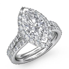 Split Shank Halo Pave Marquise diamond engagement Ring in 14k Gold White
