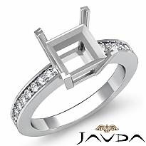0.25Ct Princess Diamond Engagement Side Stone Ring Setting 14k W Gold Semi Mount