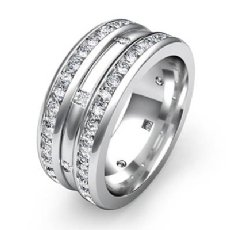 Princess Round Diamond Wedding Eternity Band 9mm Men Ring 14k White Gold 1.75Ct