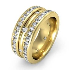 Princess & Round Diamond Men's Eternity Wedding Band in 14k Gold Yellow  (1.75Ct. tw.)